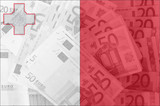 flag of Malta with transparent euro banknotes in background