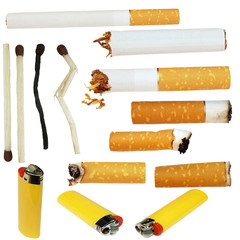 cigarette butts, cigarette, matches, lighters,  isolated