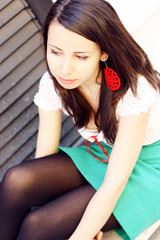 Pretty student girl looking away
