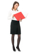Full body of business woman with red folder