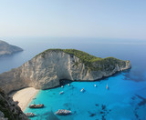Top view of Navagio beach in Greece with cruisers
