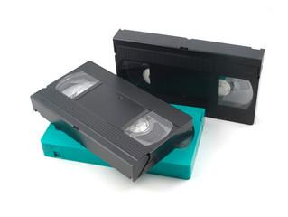 Видеокассеты на белом фоне