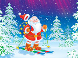 Santa Claus skiing with a toy sack through a forest
