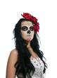 Serious woman in day of the dead mask isolated