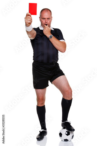 Football referee full length isolated on white