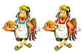 Cartoon cook coconut with smoked chicken