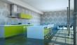 Wohndesign - Küche im Loft grün