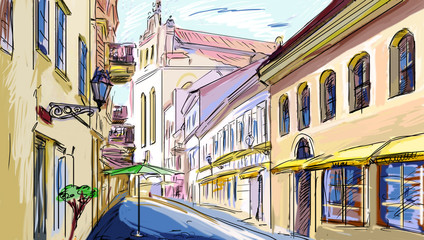 old town - illustration