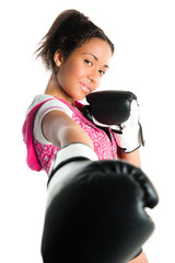 Young beautiful mixed race boxing teenager, punching and smiling