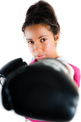 Young beautiful mixed race boxing teenager, punch and jab with e