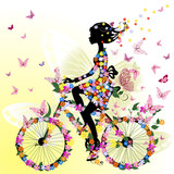 Fototapety Girl on a bicycle in a romantic