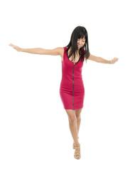 Asian woman balancing