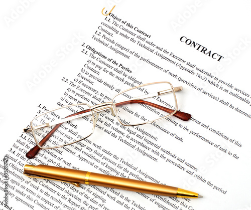 legal contract papers with pen