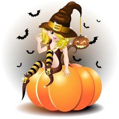 Halloween Strega Bambina con Zucca-Witch Baby Girl on Pumpkin