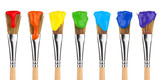 Fototapety colored paint brushes 2
