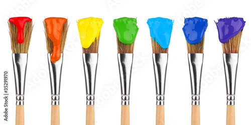 canvas print picture colored paint brushes 2