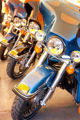 Display of new motorcycles