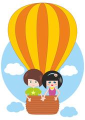 Children flying on hot air balloon