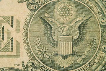 Macro Detail Of An Old One Dollar Bill v4
