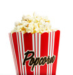 Close up of a popcorn box isolated on white