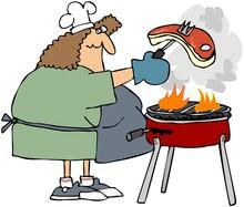 Frau Grillen ein Steak