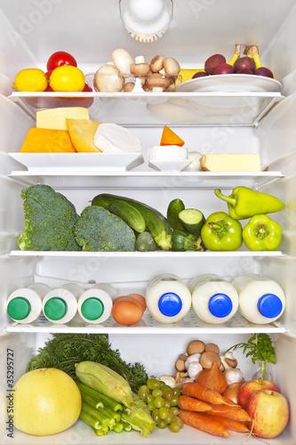 Full fridge. Healthy fitness concept.