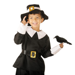Happy Pilgrim Boy with Bird
