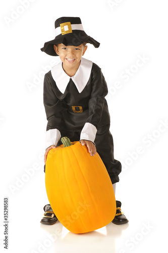 Pilgrim with Pumpkin