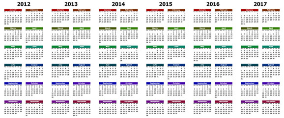 colorful calendar for years 2012 - 2017