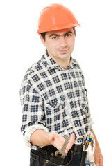Work in a helmet on a white background.