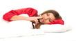 smoking young woman sleeping in white bedding