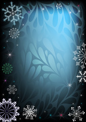 Dark and blue christmas frame