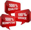 100% Qualität/Service/Kompetenz Sprechblasen rot