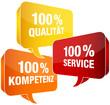 100% Qualität/Service/Kompetenz Sprechblasen gelb/rot/orange