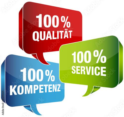 100% Qualität/Service/Kompetenz Sprechblasen blau/rot/grün