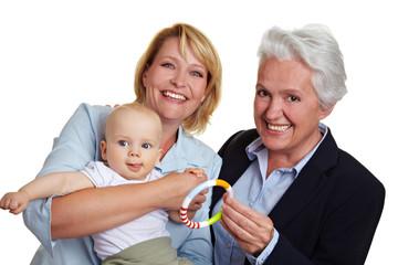 Baby mit Oma und Mutter