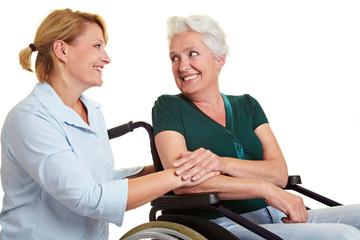 Pflegedienst hilft behinderter Seniorin