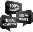 100% Qualität/Service/Kompetenz Sprechblasen schwarz