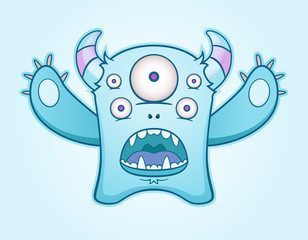 Surprised Blue Monster