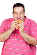 Fat man eating a hamburger