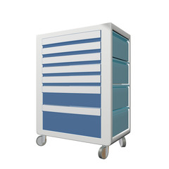 Blue and grey metal medical supply cabinet with wheels, 3D illus
