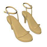 Brown stilleto heels or high heels shoe with ankle strap, 3D ill poster