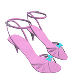 Pink stilleto heels or high heels shoes with ankle strap and blu poster