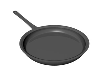 Black teflon coated shallow frying pan, 3D illustration