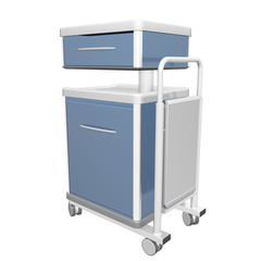Blue and white stainless metal medical supply cabinet placed on