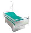 Green and grey mobile children's hospital bed with recliner and