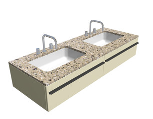 Modern washroom sink set with granite counter and chrome fixture