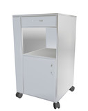 Stainless steel mobile cupboard, 3d illustration, for medical us poster
