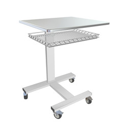 Mobile stainless metal medical over bed table with wire mesh tra