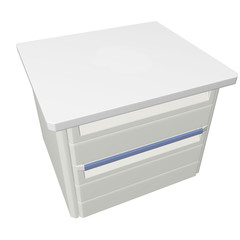 Metal medical supply or first aid cabinet, 3d illustration, isol